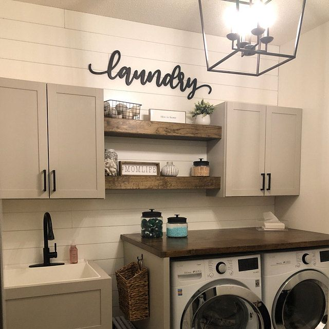 Chunky Floating Shelf Farmhouse Laundry Room Renovation