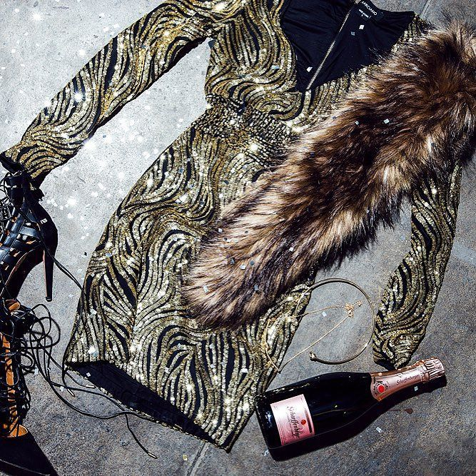 It's the midnight countdown  What will you be wearing at  tomorrow? @marciano sequins  faux-fur maybe? (: @chrisellelim) #LoveGUESS - Shop now for guess > http://ift.tt/1Ja6lvu