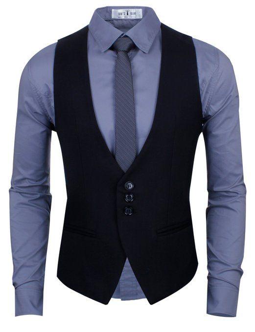 0d35117b00 Ropa Para Hombres Jovenes · chaleco negro + camisa azul + corbata girs Traje  Negro Camisa Azul
