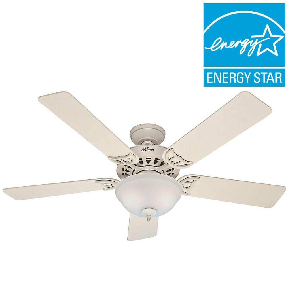 Hunter Sonora 52 In Indoor Antique Pewter Ceiling Fan With Light Kit 53171 The Home Depot Ceiling Fan White Ceiling Fan Ceiling Fan With Light