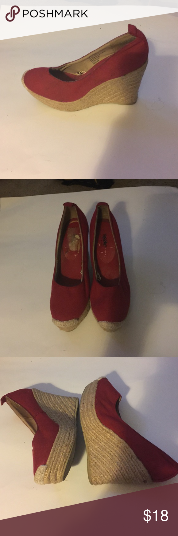 Mossimo Supply Co. Shoes | Missimo Wedge Espadrilles | Color: Red | Size: 6.5 #shoewedges