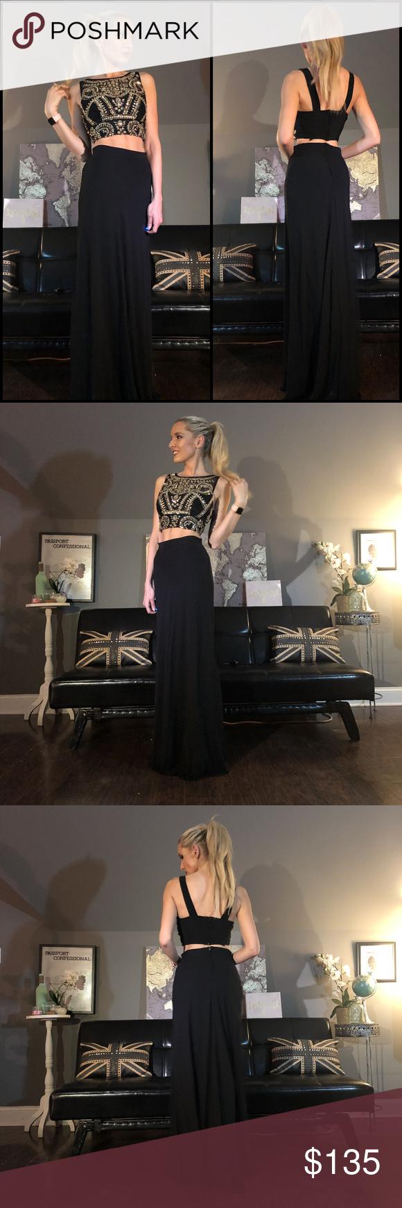 Black gold rhinestone beaded piece prom dress pinterest