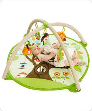 Skip Hop /  Treetop Friends Activity Gym  Our adorable ACTIVITY GYM features soft linen and patterned arches and includes a matching supportive Tummy Time pillow. Five hanging toys attach to 13 easy-to-hang loops offering irresistible multi-sensory play for baby at every stage of development. A mirror and built-in sounds and textures on the mat add to the fun.