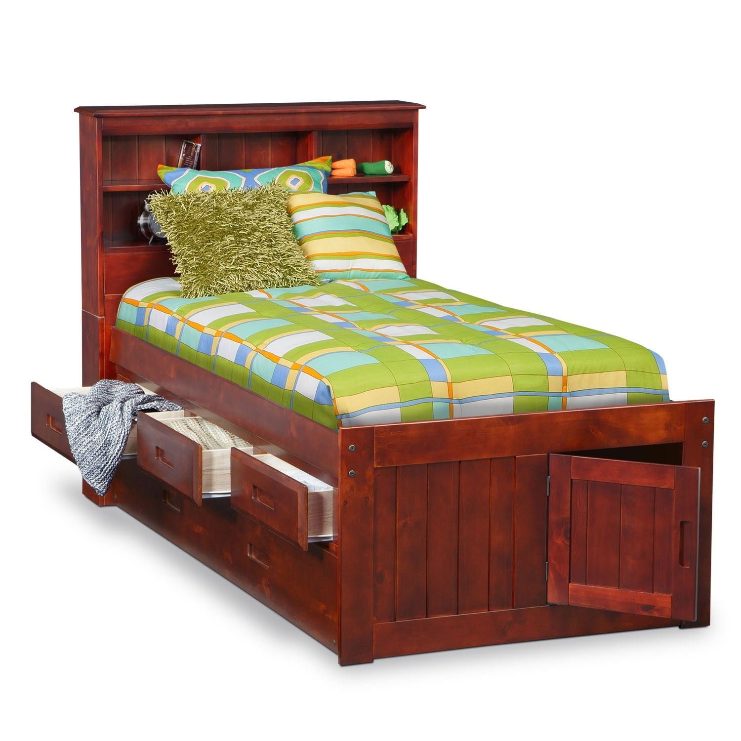 Boat Bed With Trundle And Toy Box Storage: Ranger Bookcase Bed With 3 Underbed Drawers And Twin