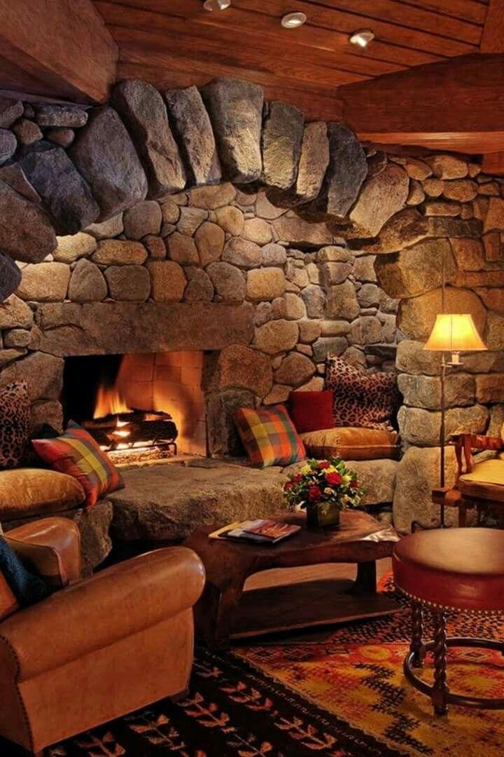 A Stone Fireplace Cabin Logcabin Cottage Lodge