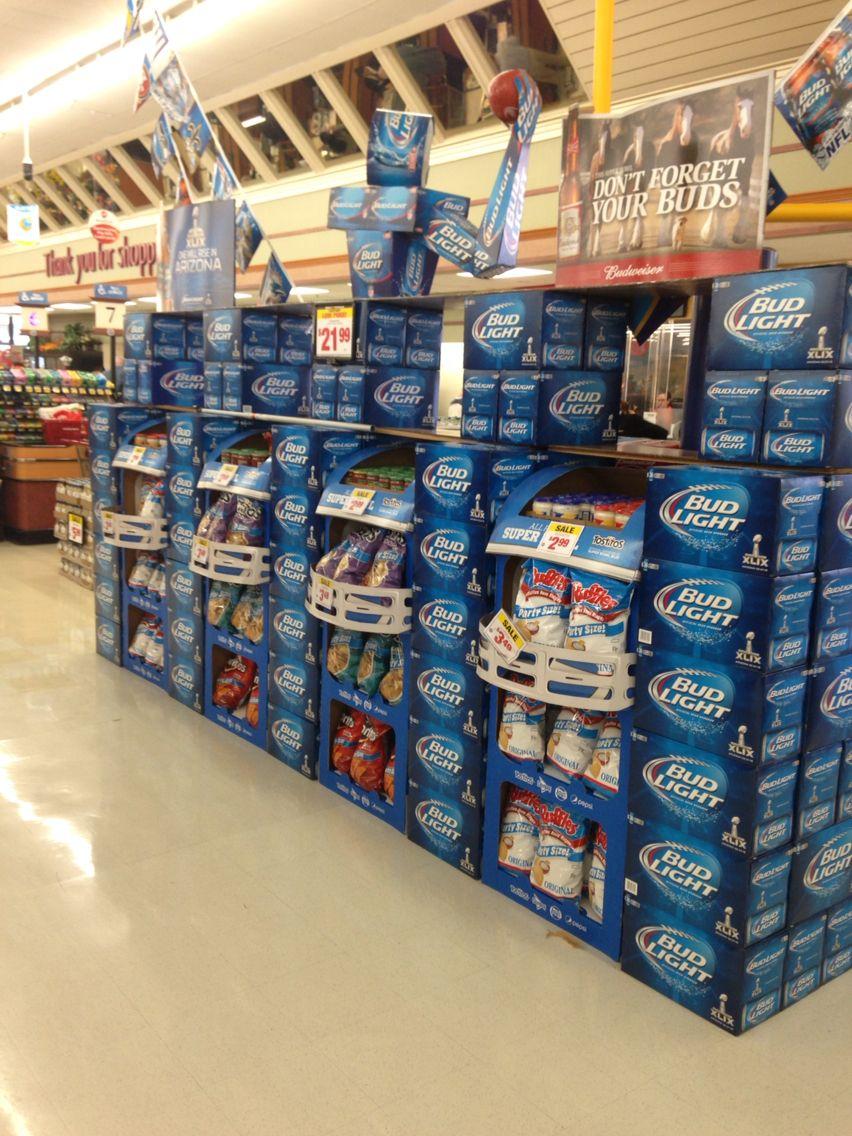 Super Bowl creative beer display | Beer displays | Pop ...