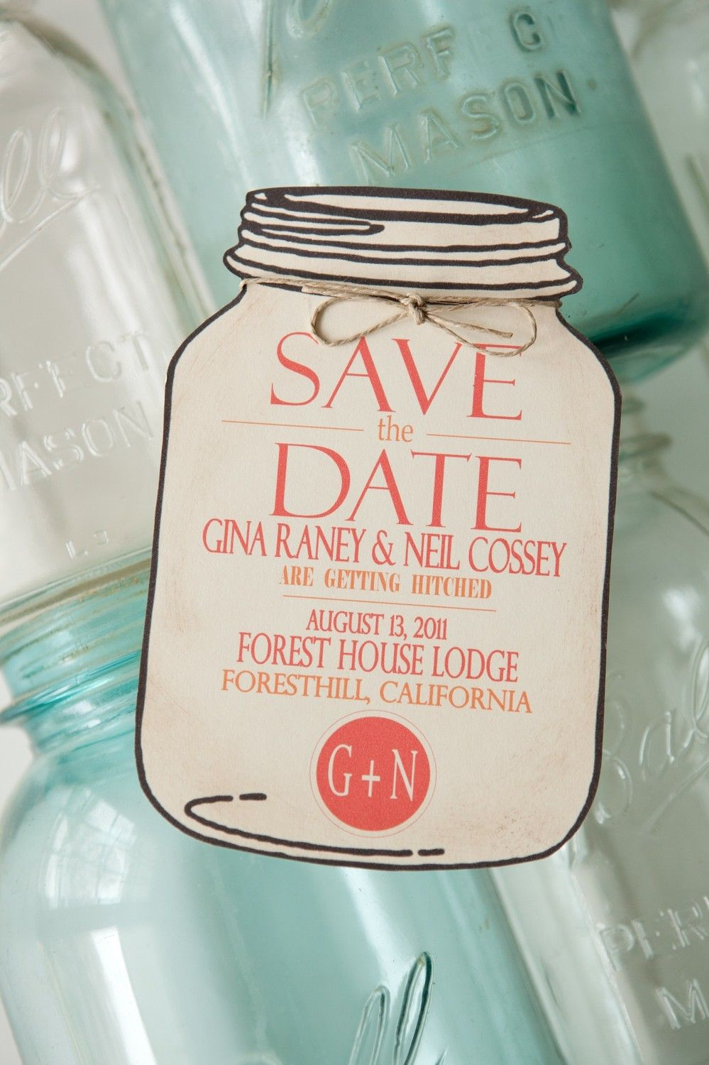 Mason Jar Save the Date for wedding