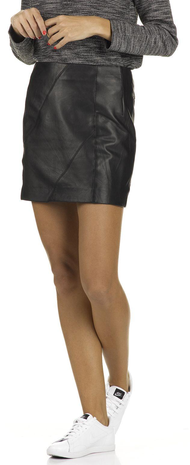 e boutique mini jupe en cuir axilla noir comptoir des cotonniers femme place des tendances. Black Bedroom Furniture Sets. Home Design Ideas