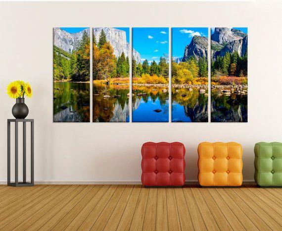 Yosemite Park Wall Art Mountain Canvas Print Fine Art Print Large Canvas Art Lake Wall Art Canvas Home Decor Nature Can Dunya Haritalari Haritalar Harita