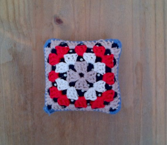 Nautical granny square pincushion by Jayneanncrochet on Etsy, £8.75