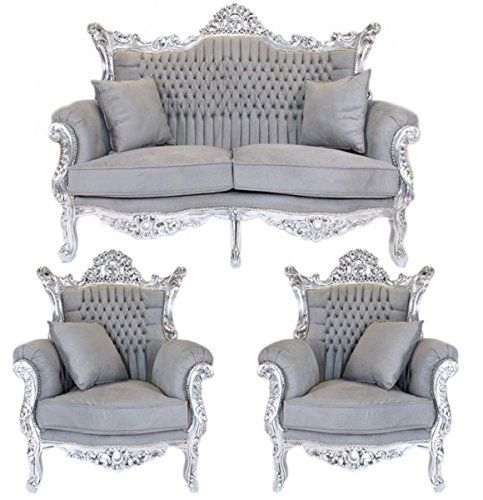 Casa Padrino Barock Wohnzimmer Set Master Grau \/ Silberu2026 Sessel - barock mobel prachtvoll