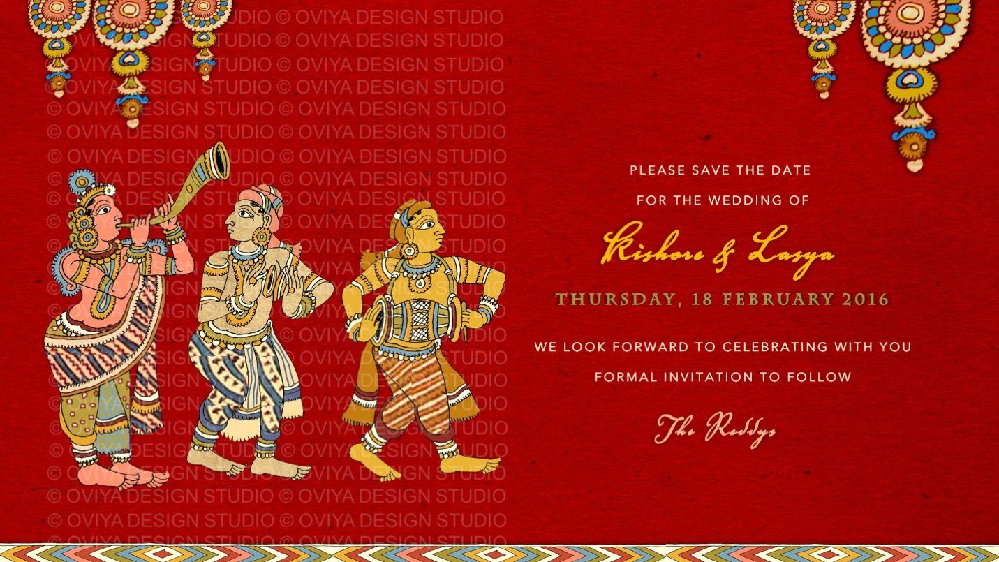 South Indian Kalamkari inspired Wedding Save the Date Card front ...