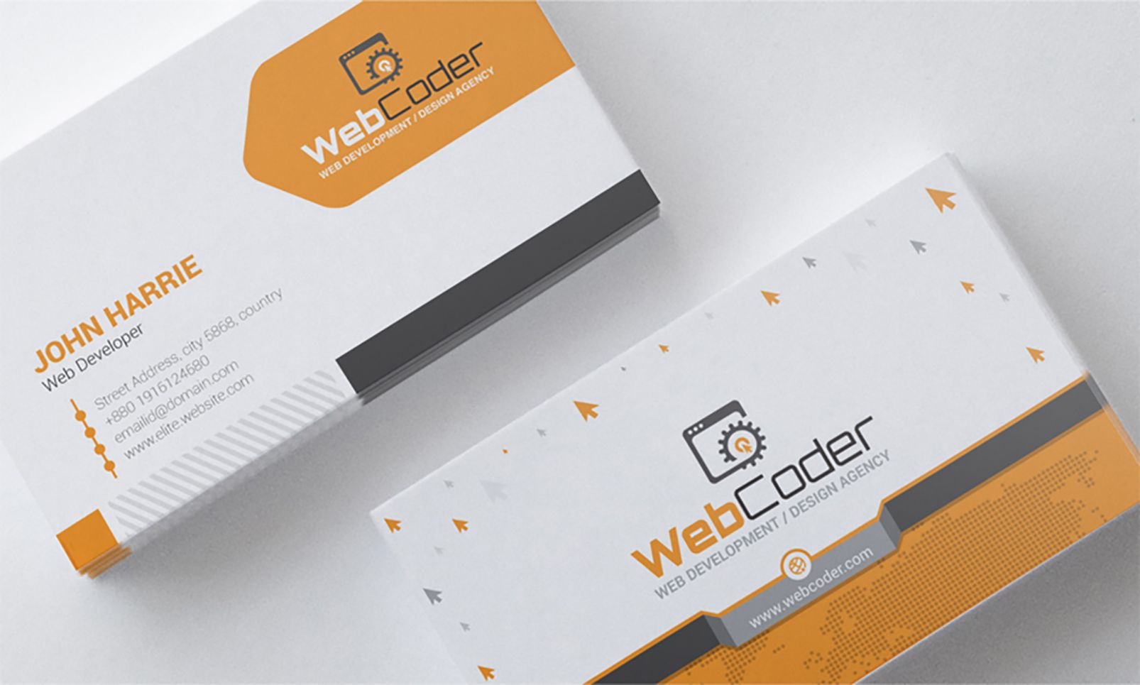 Business Card Design For Web Design And Developer Psd Template Design Card Business Web Psd Business Card Design Card Design Web Design
