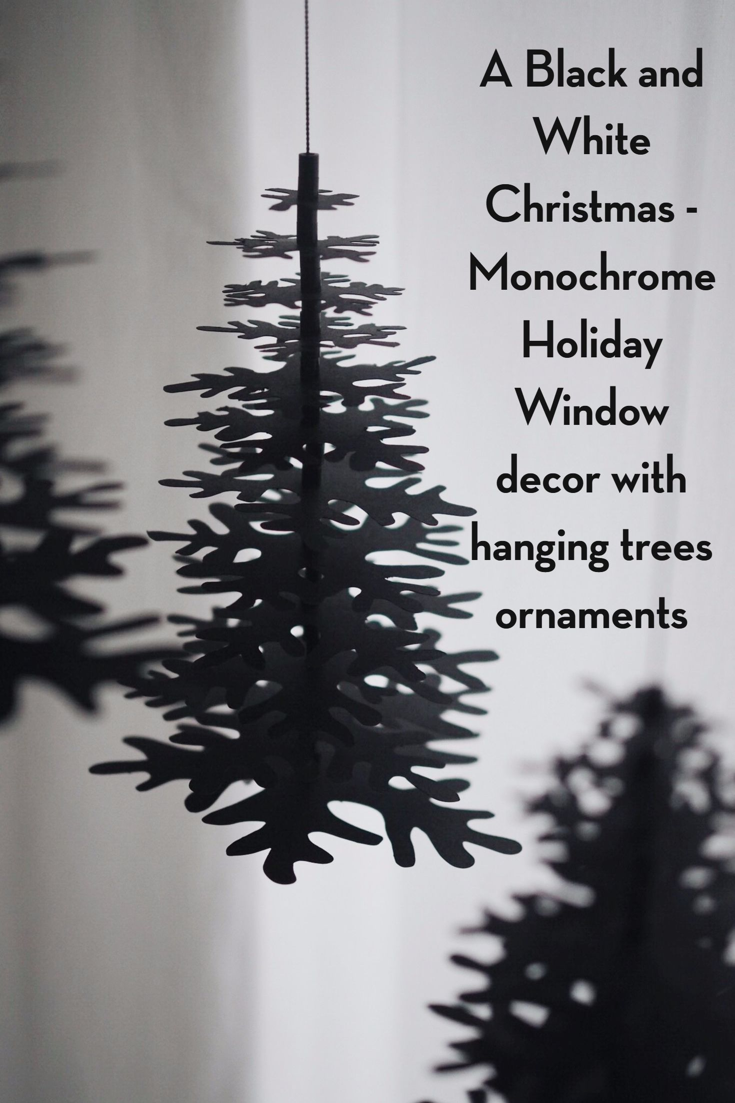 Window decor for christmas  a black and white christmas  monochrome holiday window decor with