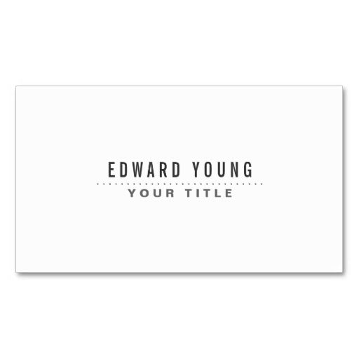 White Modern Minimalist Generic Business Card Paper Templates - Generic business card template