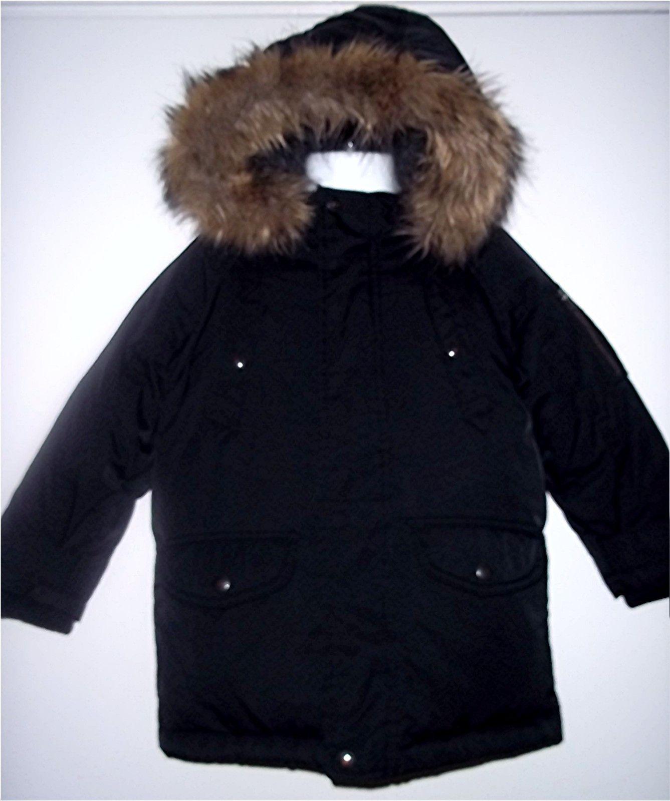 cb635d2a0d2 Baby Gap Boy Black Warmest Winter Down Coat Hooded Fur Jacket Parka ...