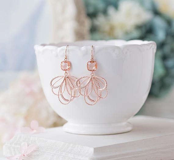 Peach Champagne Rose Gold Dangle Earrings Peach Wedding