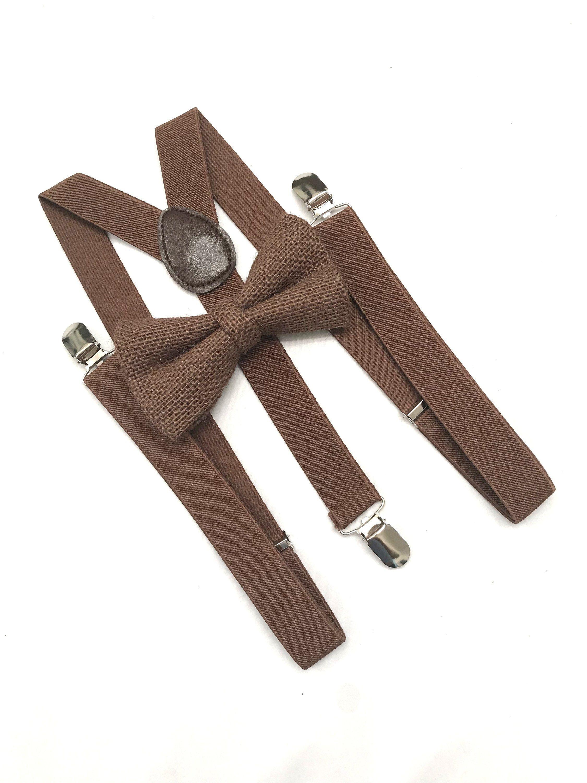 Brown burlap bow tie and suspenders formal weddings tuxedo