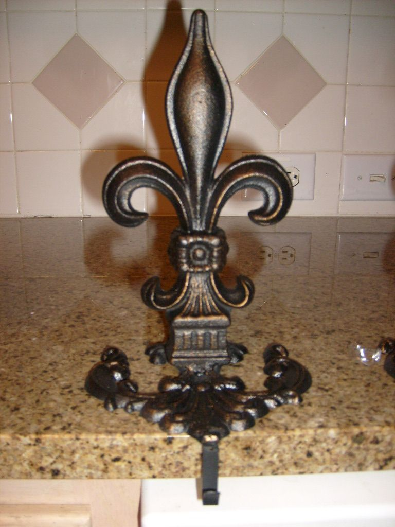 Iron Fleur De Lis Christmas Stocking Holder Hand Made And Finished Old World Tuscan