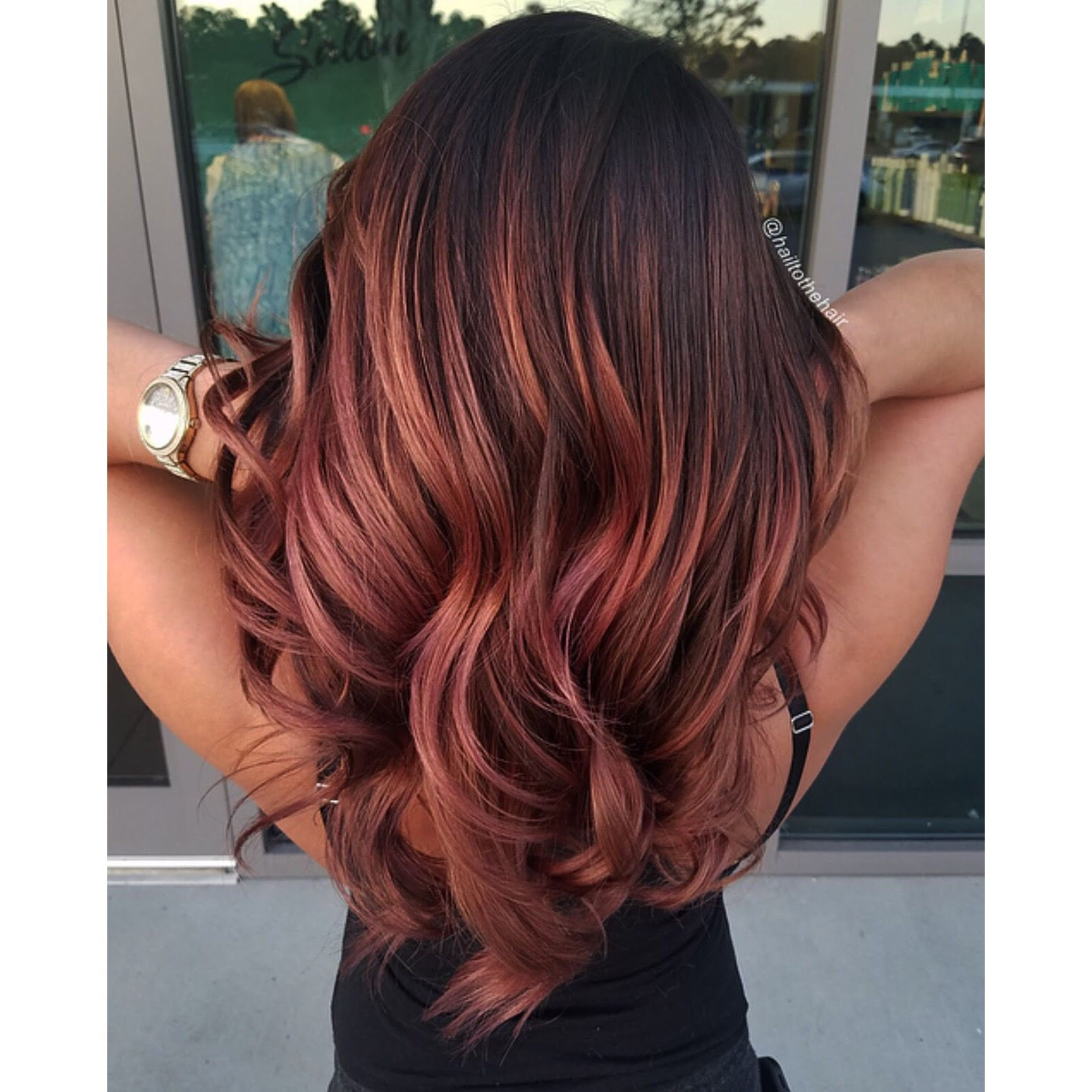 Dark Rose Gold Balayage By Hailtothehair Love It Gold Hair Dye Rose Gold Hair Dye Ombre Hair Color