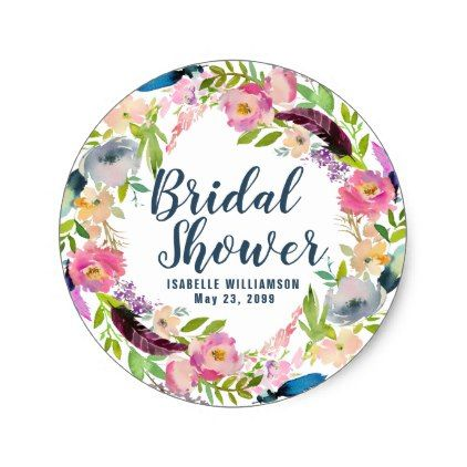 Boho floral and feather bridal shower classic round sticker floral bridal shower gifts wedding bride