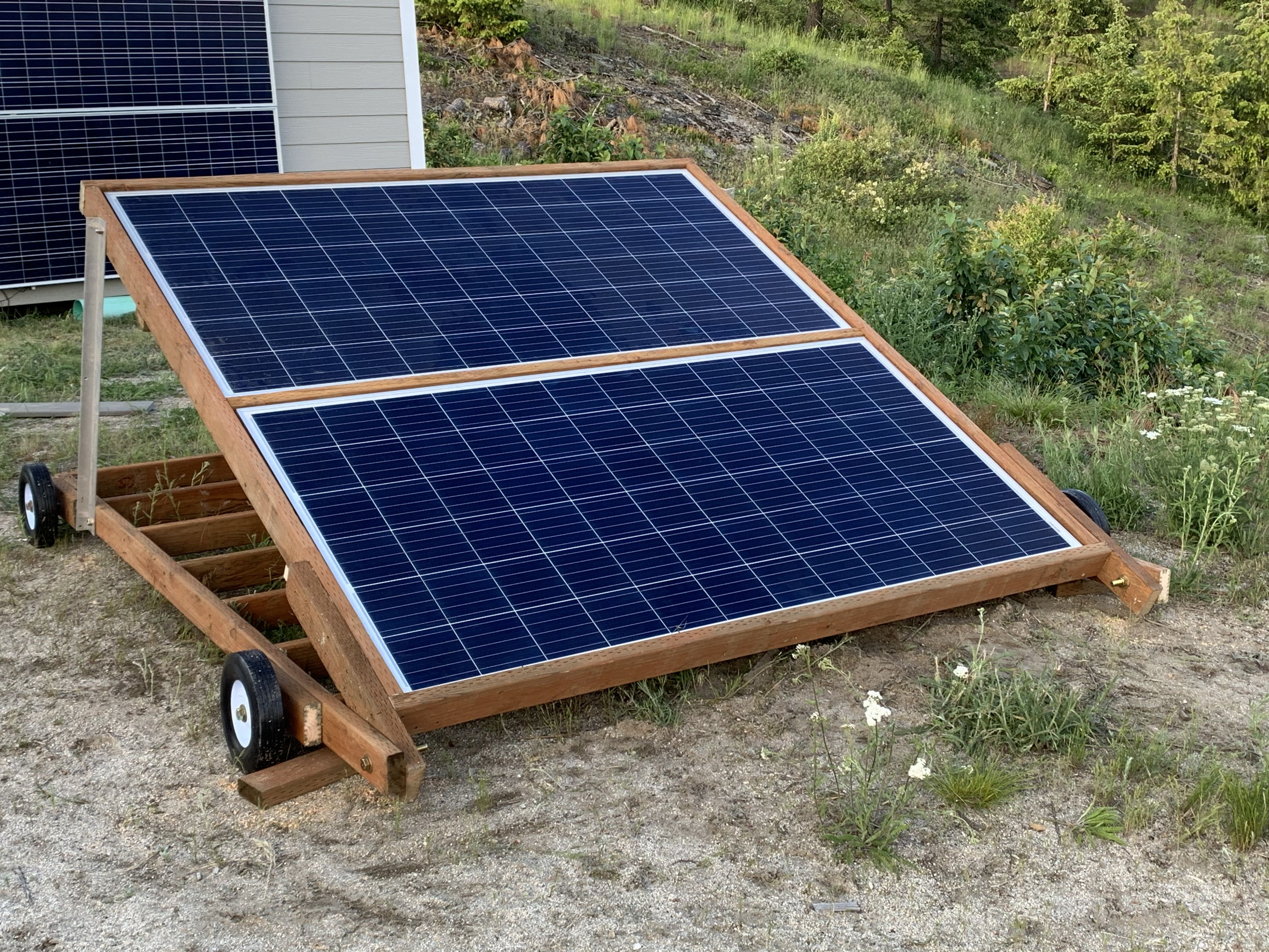 Home Made Moveable Solar Panel Rack In 2020 Solar Panels Roof Solar Panel Pressure Treated Wood