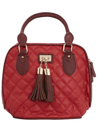 Red quilted tassel bowling bag