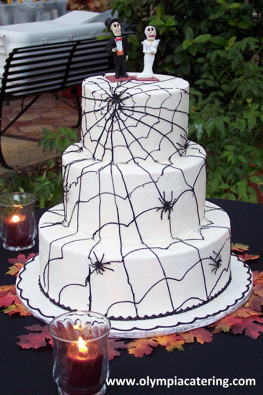 Round Wedding Cake, Spiderweb, Halloween, Three Tiers | Wedding ...