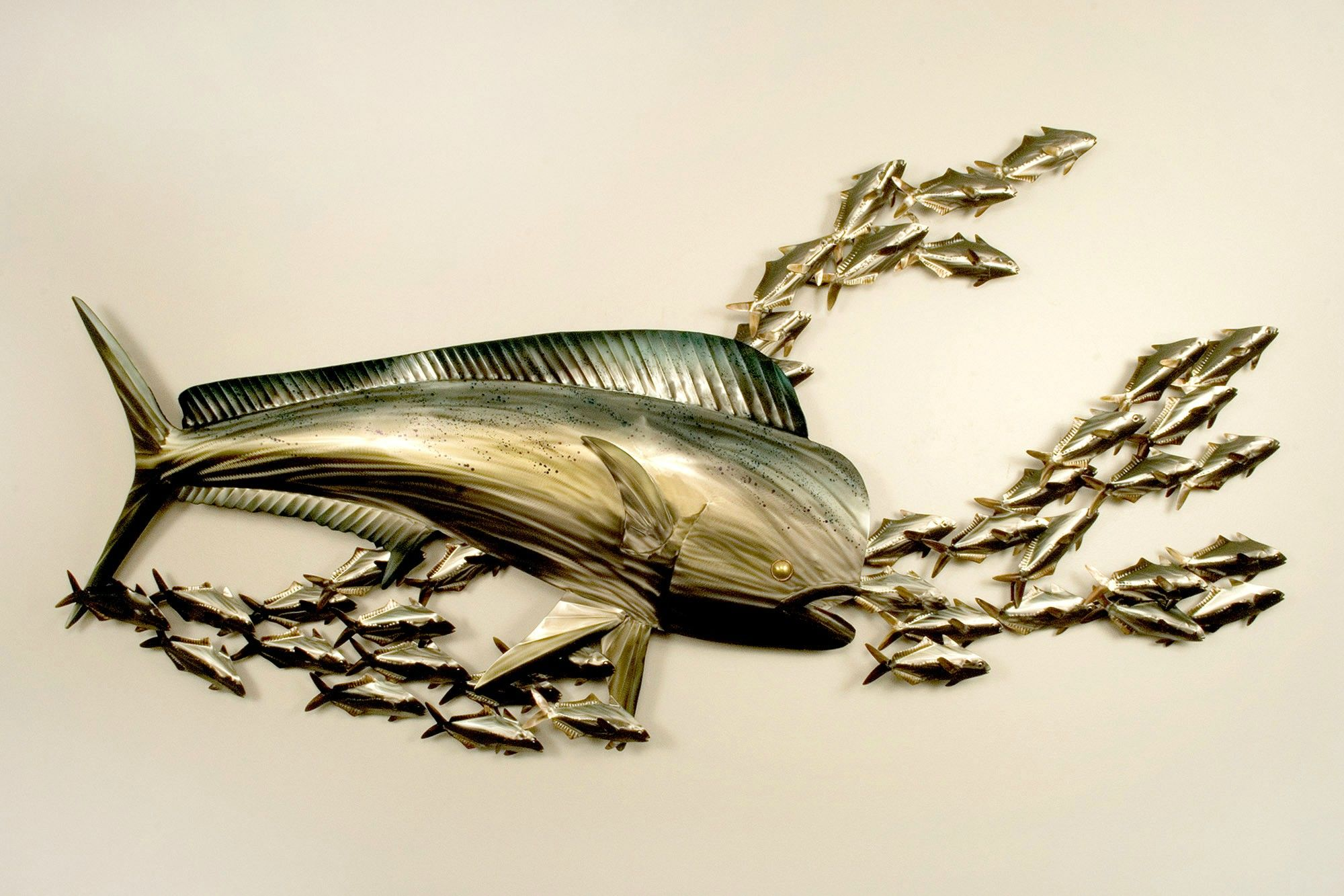 Mahi Mahi Attack Copper Art Ocean Wall Decor Metal Art