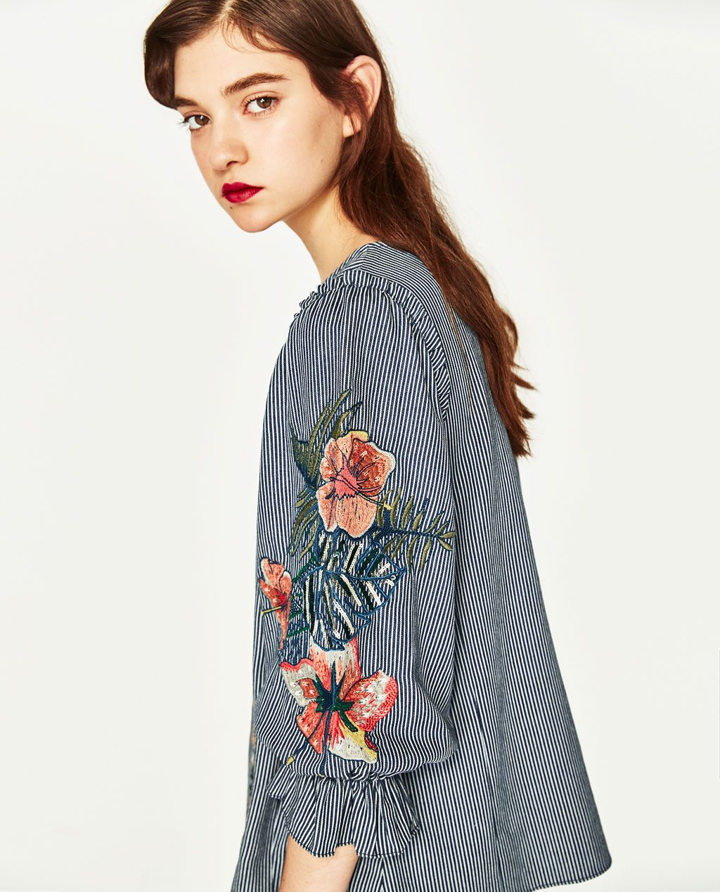 2f9f54cce1fa60 EMBROIDERED FLOWER TOP | Dream closet | Embroidered flowers, Tops ...