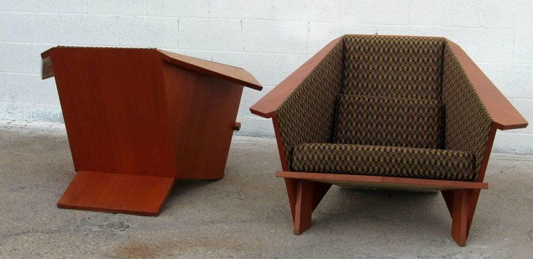 Fine Frank Lloyd Wright Style Origami Lounge Chair 1980S For Theyellowbook Wood Chair Design Ideas Theyellowbookinfo