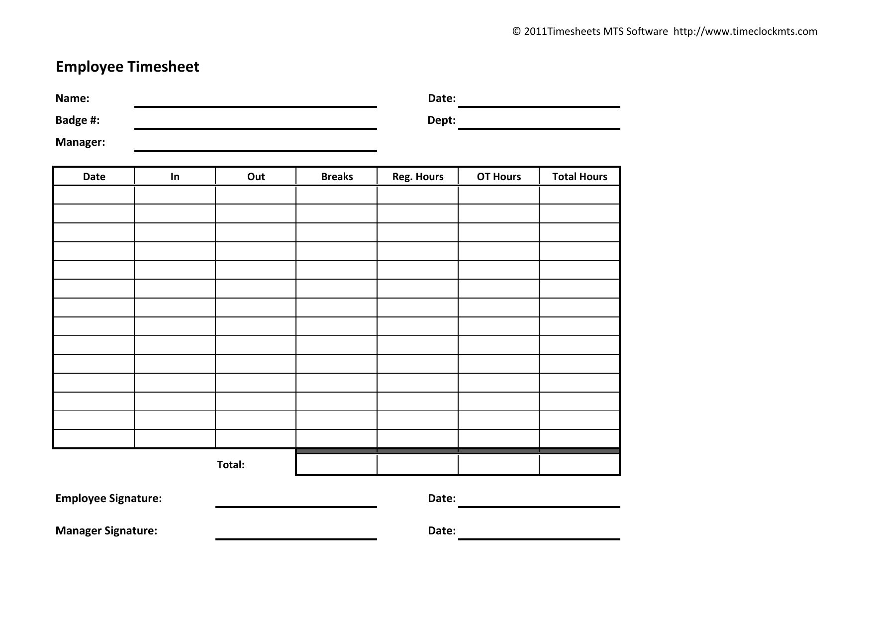 The Awesome Download Weekly Timesheet Template