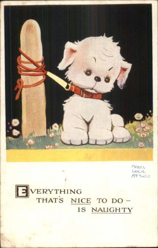 Mabel Lucie Attwell Puppy Dog Tied to Post Postcard   eBay