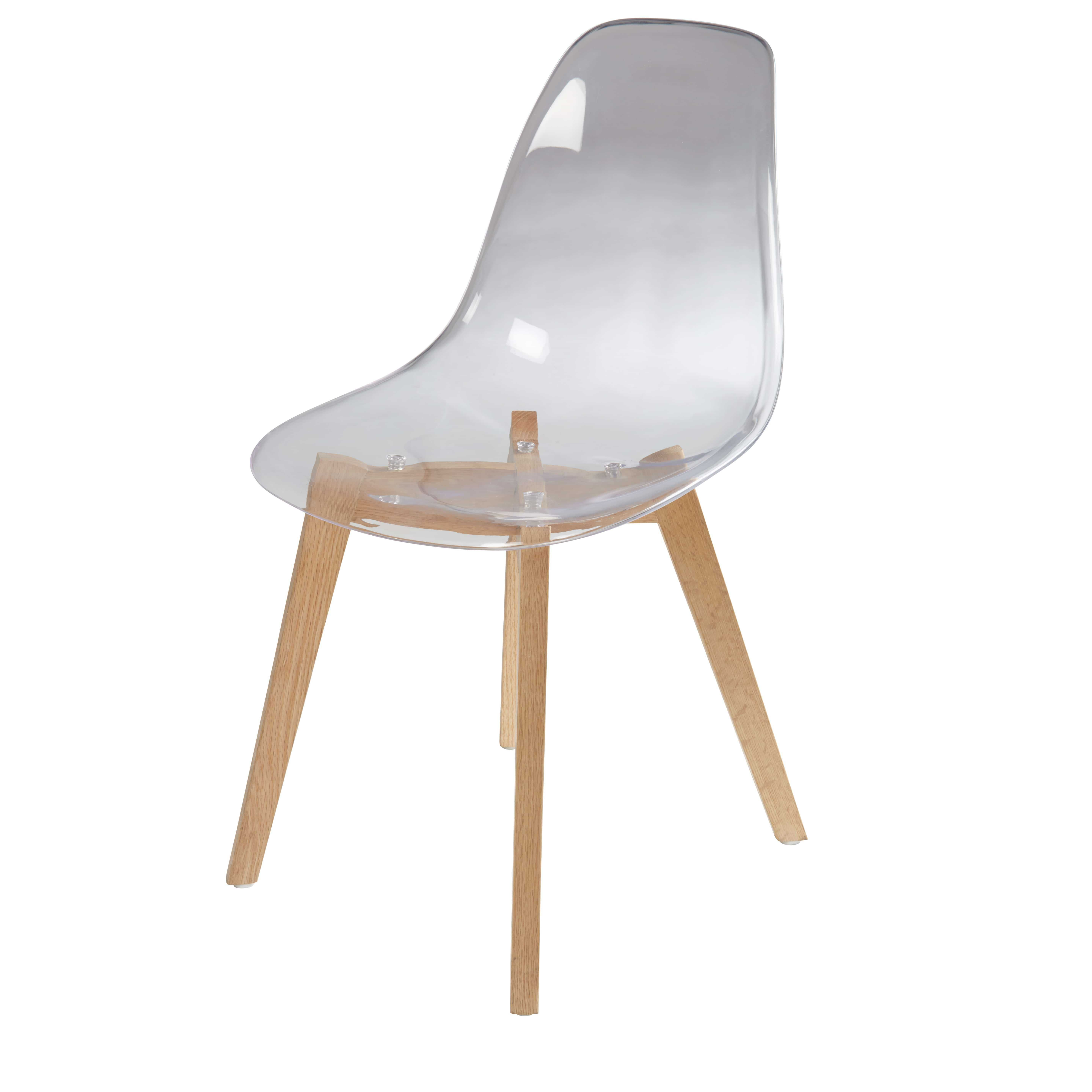 Chaise Transparente Et Chene Ice Chaise Style Scandinave Chaise Transparente Chaise Scandinave