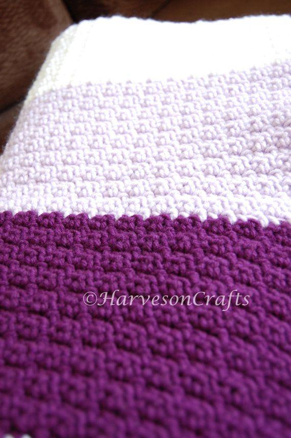Crochet Baby Afghan In Lavender Purple Grey White Baby Blanket