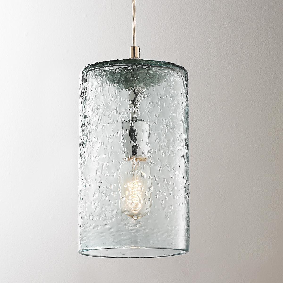 Pebbled Glass Cylinder Pendant Coastal Pendant Lighting Glass