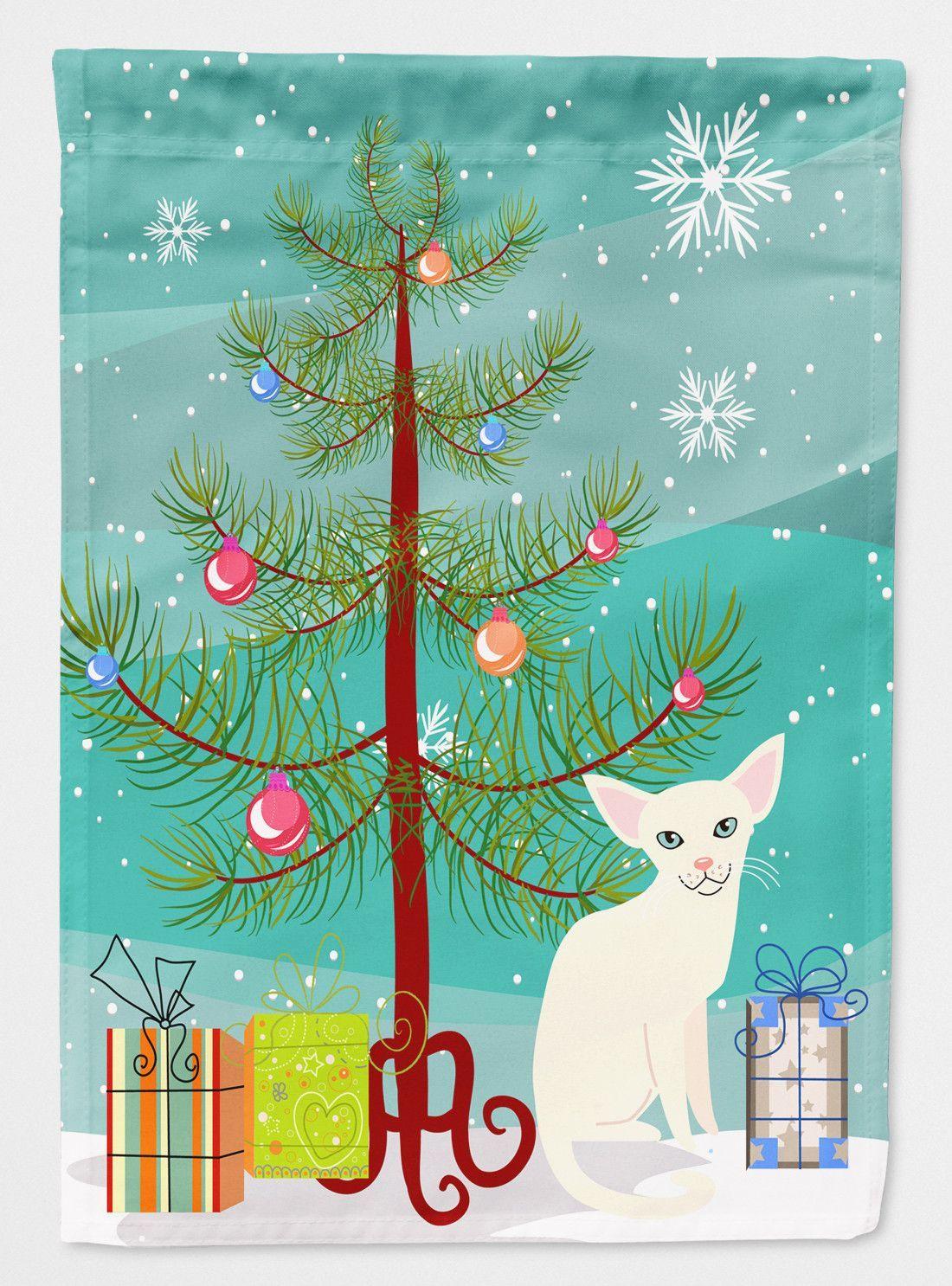 Foreign White Cat Merry Christmas Tree Flag Garden Size BB4420GF