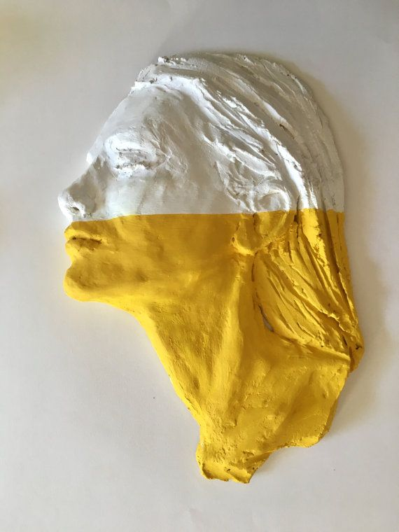 Wall Sculpture - Woman face profile - White and yellow portrait ...