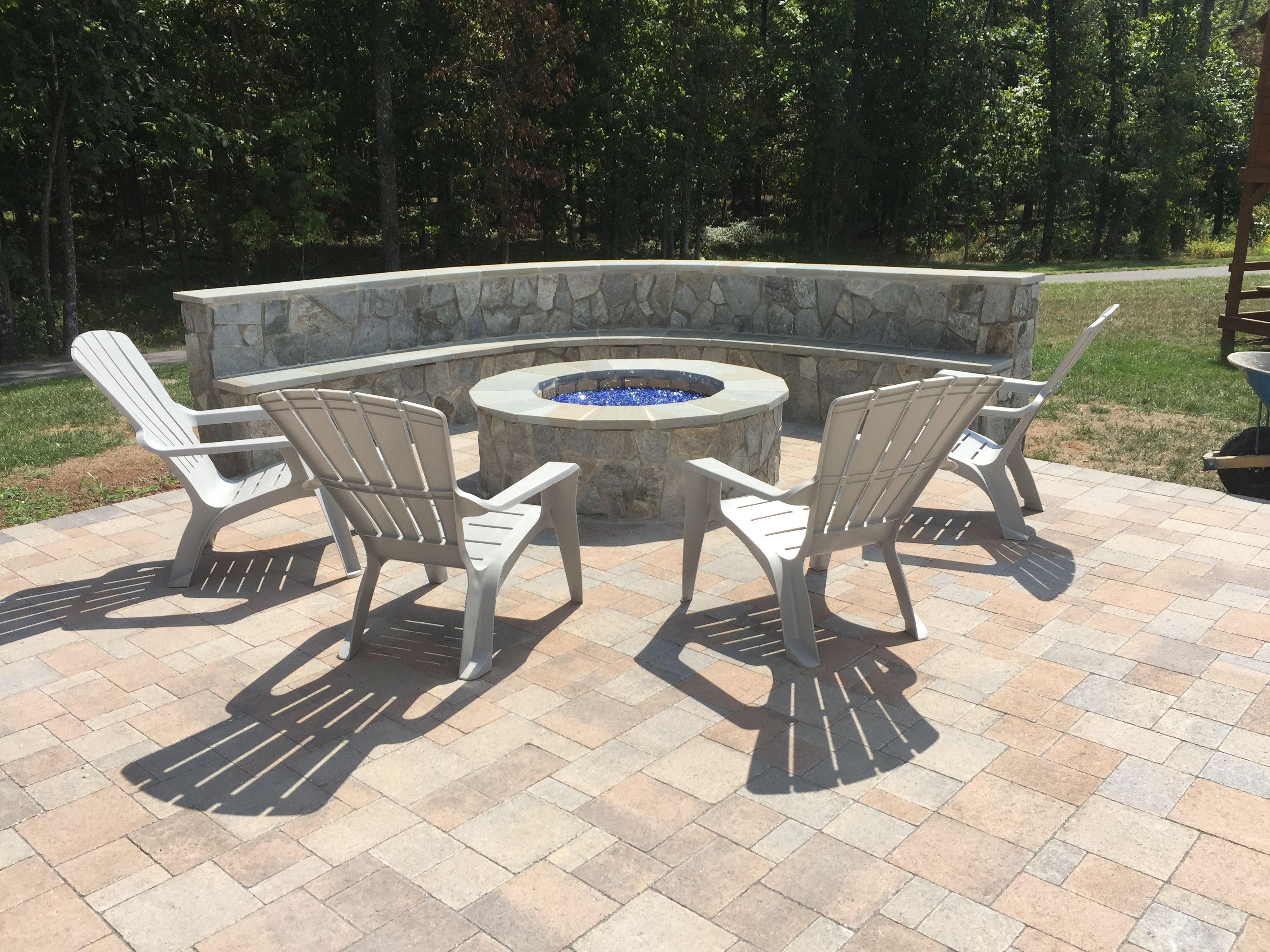 hanover paver patio stone seating wall bench outdoor gas fire pit