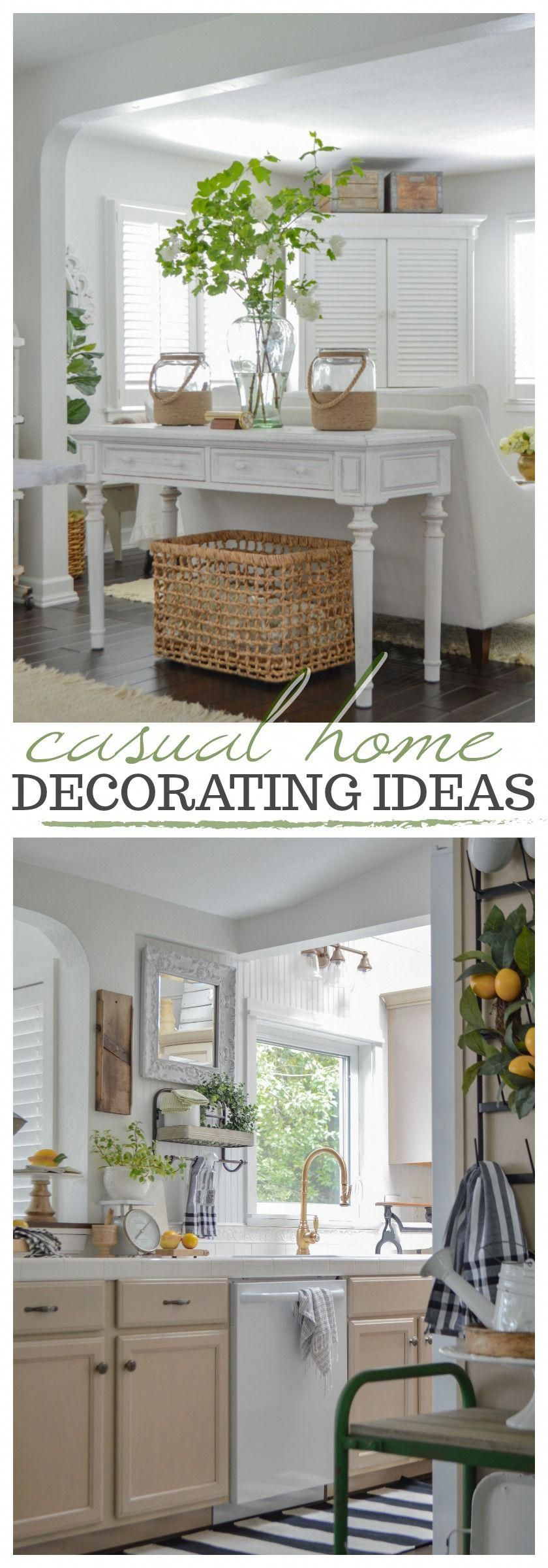 Keeping It Simple - casual, affordable, no fuss home decorating ideas with an easy going blend of traditional cottage farmhouse style, DIY and vintage finds for Summer and beyond. #decoratingideas #homedecoratingideas #neutralhome #hometour #cottagestyle #farmhousestyle #simpledecor #diyhome #countrykitchenideas