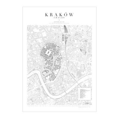 Mapa Poster Plakat Krakow White Mapzorki 723 Krakow Poster Map