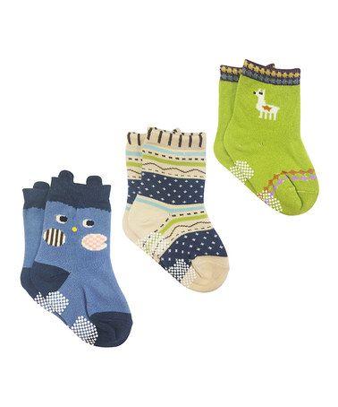 Loving This Blue Green Owl Three Pair Socks Set On Zulily