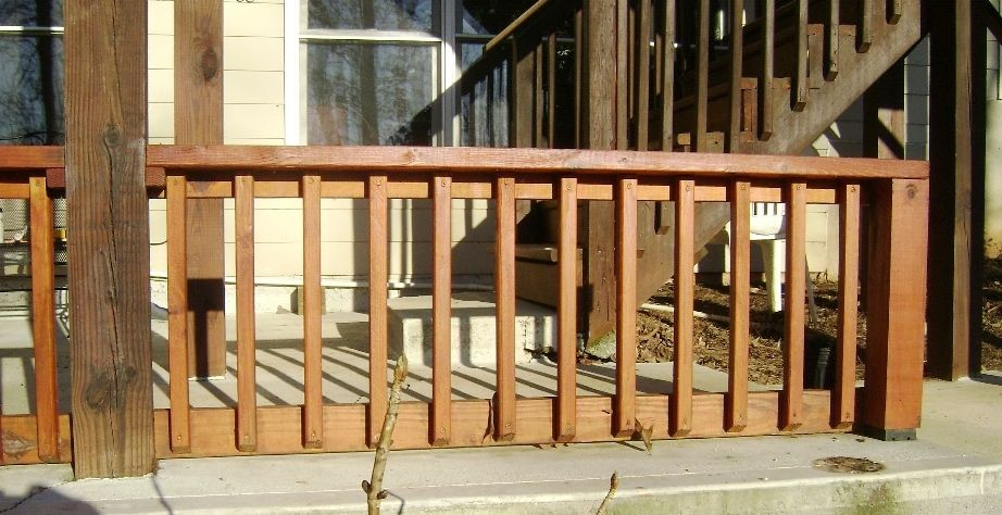 How to build a 2x4 deck rail on a concrete patio a deck for Concrete patio railing