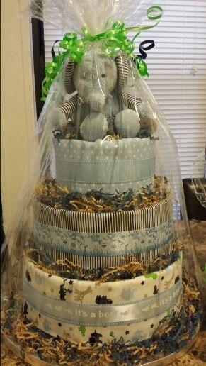 Elephant diaper cake made by Mari Veloz