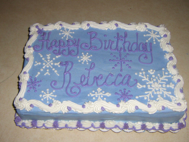 Snowflake cake A 9 x 13 sheet cake with a snowflake design Thanks