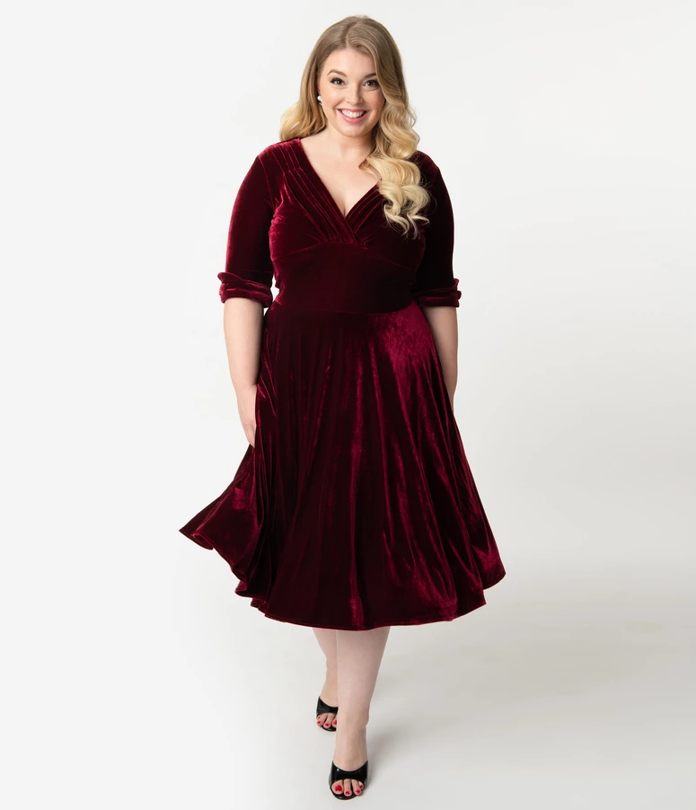 Unique Vintage Plus Size 1950s Burgundy Red Velvet Delores Swing Dress With Sleeves In 2020 Plus Size Vintage Dresses Plus Size Cocktail Dresses Swing Dress With Sleeves