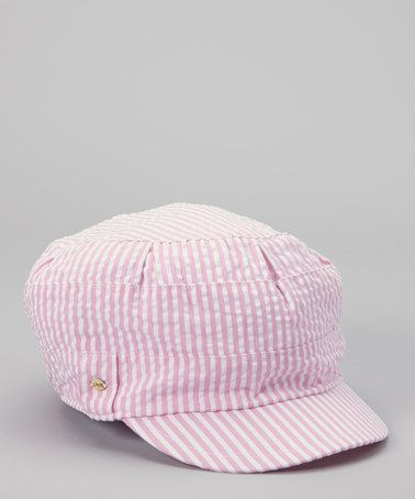 684ddeb914aa1a Take a look at this Pink & White Pinstripe Newsboy Hat by Betmar on #zulily  today!