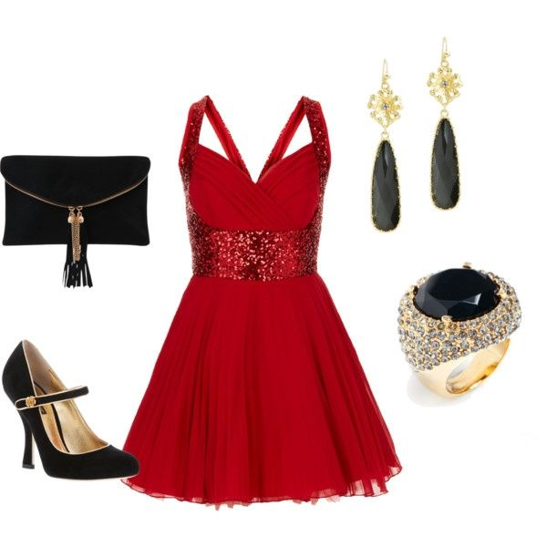 ef37ccc43fba 7 red new year eve outfits | Evening outfits | Party dress outfits ...