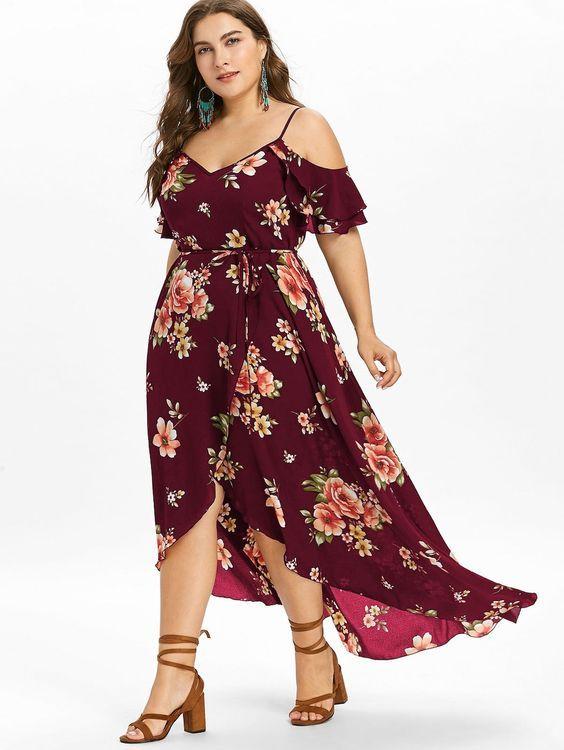 2531 Plus Size Cold Shoulder Floral Maxi Flowing Dress Ad