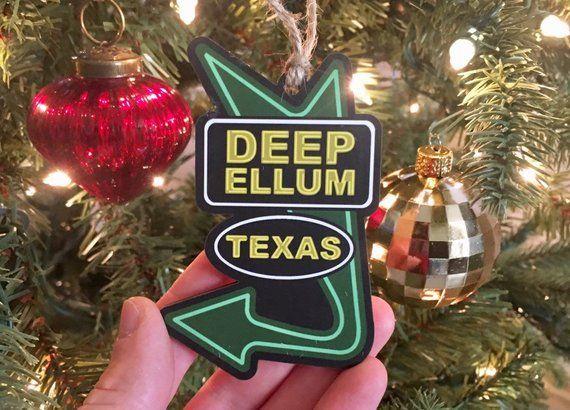 Deep Ellum Texas - Full Color Wood Ornament - Dallas TX Neon Sign